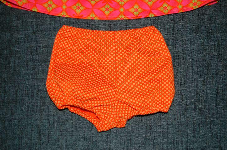 Detail of baby girl panties in Shweshwe fabric.