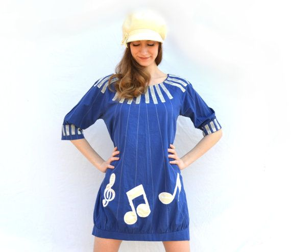 1960s Mod Music Note Mini Shift Sack Dress  Retro GoGo Rock