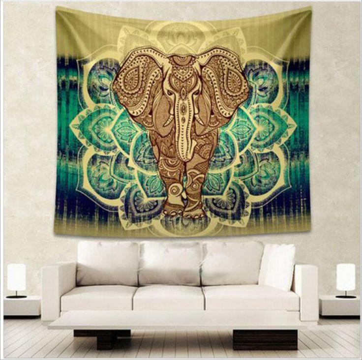 インド象タペストリー織り着色プリントインテリア曼荼羅タペストリー宗教自由奔放に生きる壁カーペットリビング毛布プラスサイズ