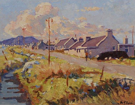 Alex McKenna-The Old Village of Dugort #art #Atalantic #Coast #moutains #water #ocean landscape #Achill #Island #painting #DukeStreetGallery #cottage