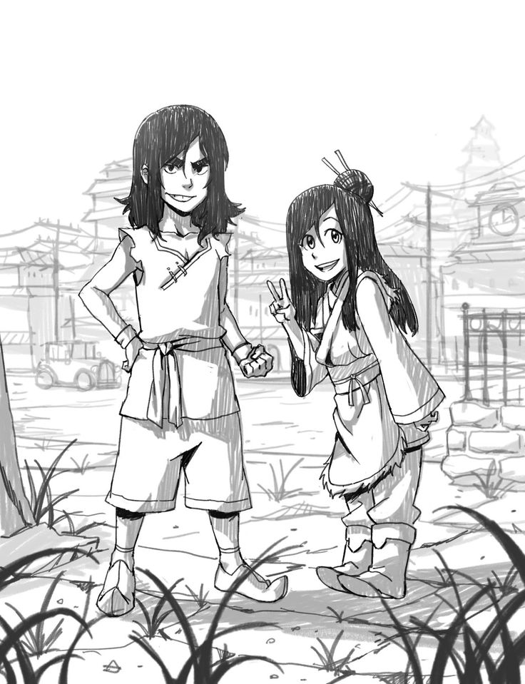 misterunagi: A young Ghazan and Ming Hua (with arms)! I imagined Ming Hua to lose her arms at some point between this drawing and the Legend of Korra timeline. Losing her arms changes a jovial Ming Hua to the dark and deadly Ming Hua we all know. But this also pushes her water bending skills above and beyond. I was tempted to give Ghazan a mustache.. but I refrained.. Bolin is silly.. hahaha