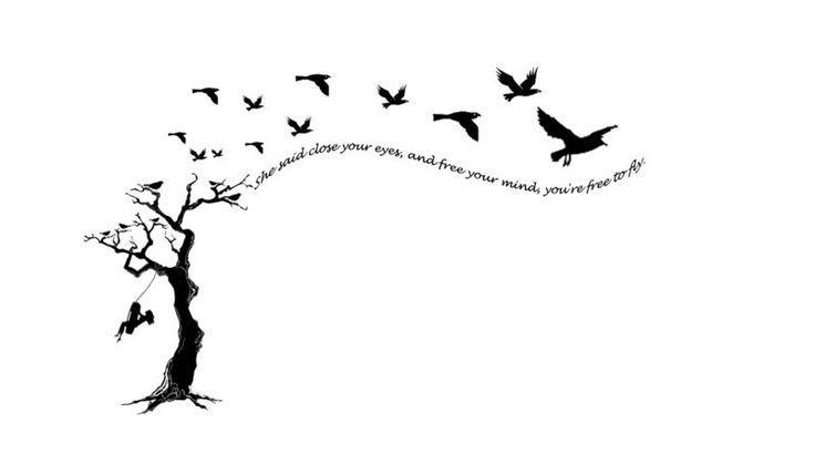 dessin arbre femme a tatouer avec phrase et oiseaux