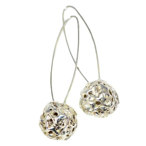 These sterling silver drop earrings feature 2 spheres that are formed using a cascading texture of silver that weaves and layers together. The hollow middle catches the light and creates depth to the design.   £270