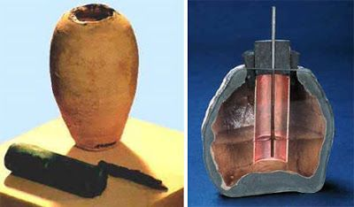 The Baghdad Battery is a set of three artifacts which were found together: a ceramic pot, a tube of one metal, and a rod of another. It was hypothesized by some researchers that the object functioned as a galvanic cell, possibly used for electroplating, or some kind of electrotherapy.