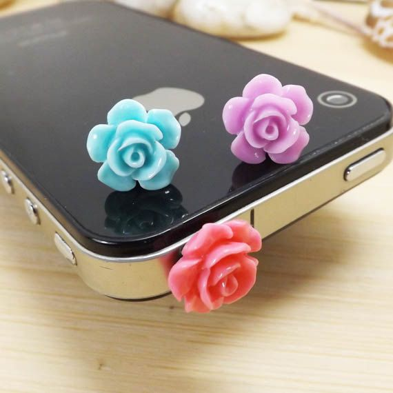 Cute Little Blue Purple Red Rose Flower Anti Dust Plug  3.5mm Cell Phone Plug iPhone 4 4S 5 5S Plug Samsung Charm Headphone Jack Ear Cap on Etsy, $1.98