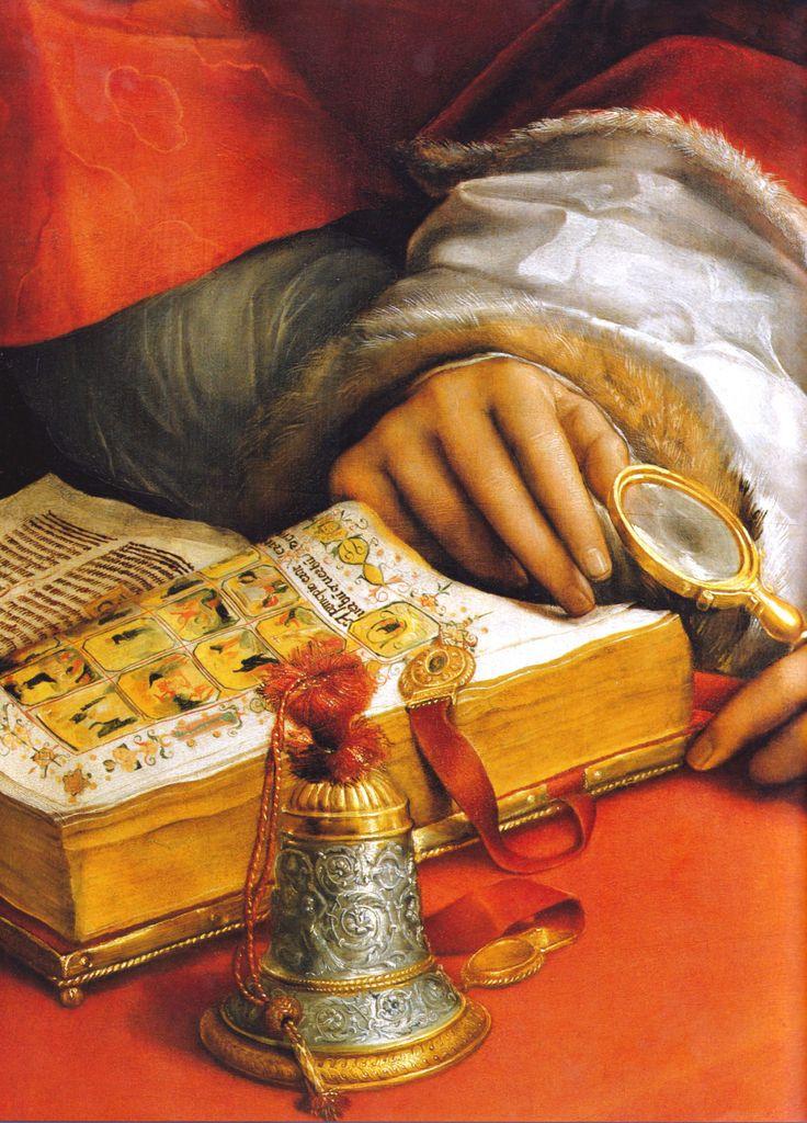 "marcuscrassus: "" "" Raphael - Portrait of Pope Leo X with two Cardinals (c. 1517), detail "" """