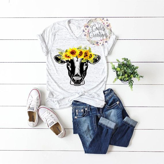 Sunflower Cow Tank Summer Fashion Cow Shirt Or Tank Sunflowers