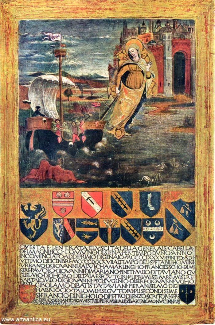 La Madonna guida la Repubblica di Siena in acque tranquille. Del 1487, Gennaio/Dicembre. Del 1487.  Autore: Guidoccio Cozzarelli  Tempera su Tavola
