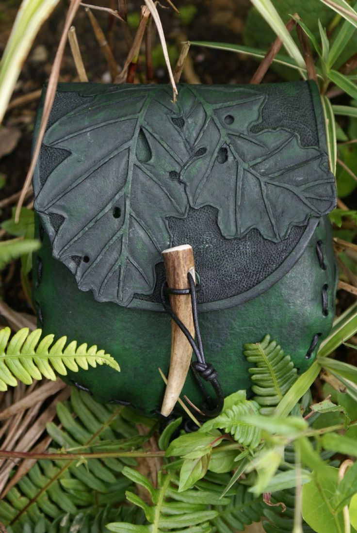 SkyRavenWolf - small deep forest green hand carved oak leaf belt pouch