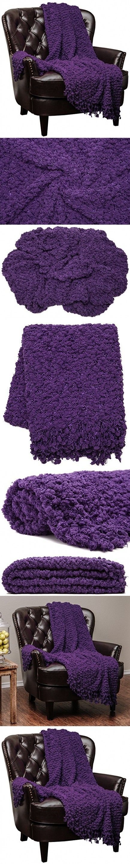 Chanasya Super Soft Beautiful Elegant Decorative Woven Popcorn Texture Couch Bed Purple Throw Blanket With Ball Fringe- Violet Aubergine