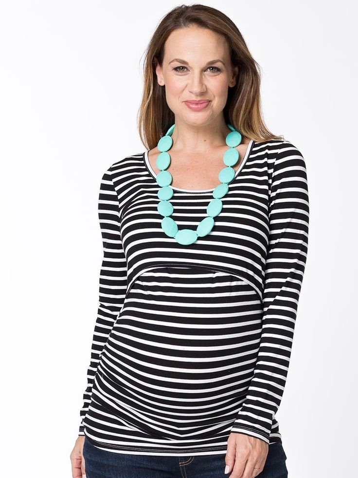 Pippi Long Sleeve Maternity and Breastfeeding Top from breastmates.co.nz -- The bump-flattering length skims down to your hips and gives a fitted silhouette in pregnancy. Dual wear for maternity and breastfeeding. Great with jeans!