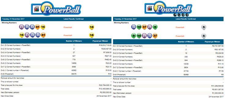 Latest #PowerballResults & #PowerballPlusResults South Africa | 21 November 2017  https://www.playcasino.co.za/latest-south-african-powerball-results.html