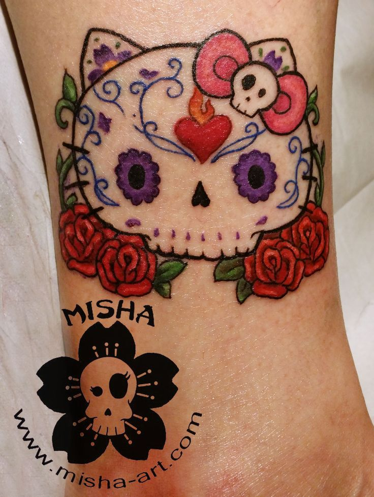 Hello Kitty Sugar skull on the ankle. Based on one of my paintings. www.misha-art.com