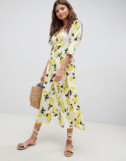 498e67a1cf3 DESIGN button through maxi dress in lemon print in 2019
