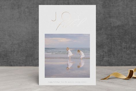 """Joy Filled"" - Elegant, Modern Foil-pressed Holiday Cards in White by Phrosne Ras."
