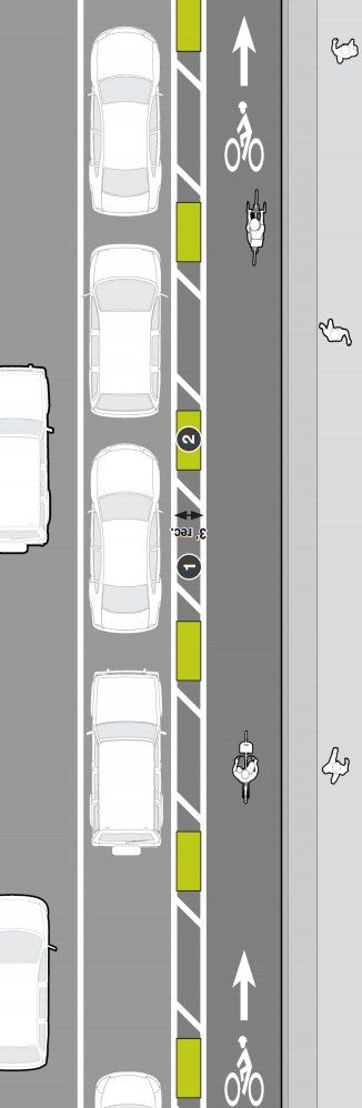 Protected lane in Mass DOT's Separated Bike Lane Guide. Click image for link to full guide and visit the slowottawa.ca boards >> http://www.pinterest.com/slowottawa