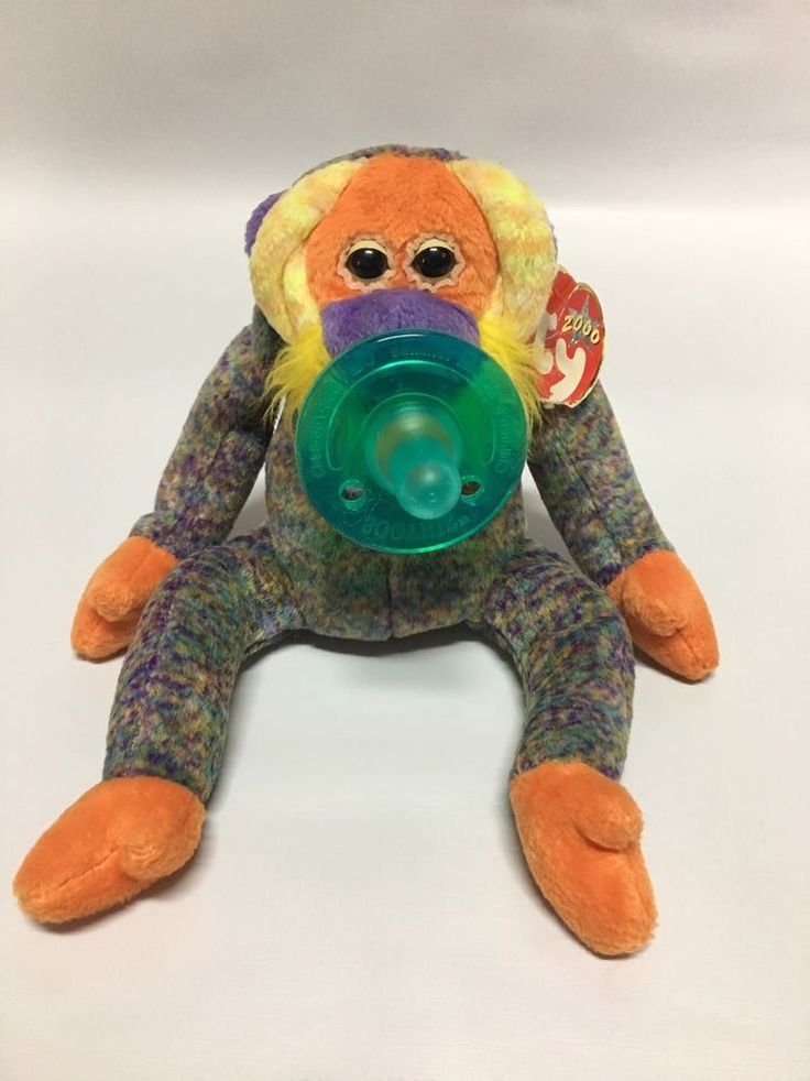 Dootsies Pacifier Lovie TY Beanie Baby (wubbanub)  | eBay bananas the monkey  is permanently attached and the whole thing is machine washable the slight weight keeps the binkie in place for newborns. And the beanie baby becomes a friend to your growing toddler. Your baby's first best friend.