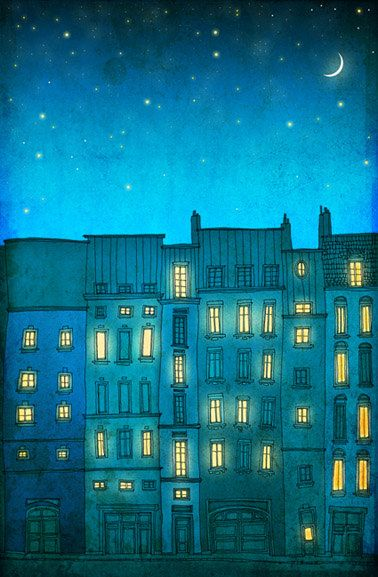 Paris illustration - You are not alone - 10x14 art print - Fine art illustration - Art Posters - Paris art, Paris decor, Wall art, turquoise...