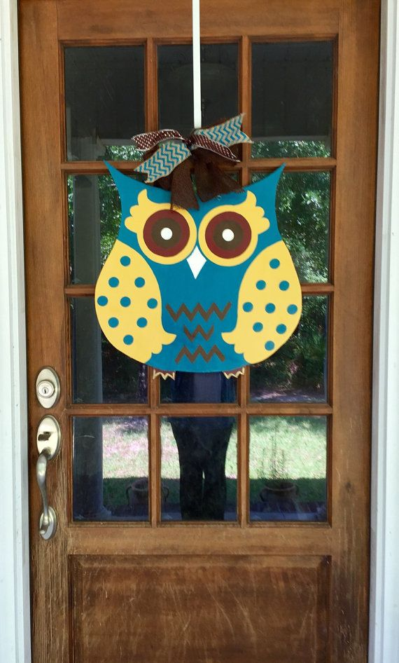 Owl Wooden Door Hanger / Hand Painted Owl by SouthernWhimsyStyle