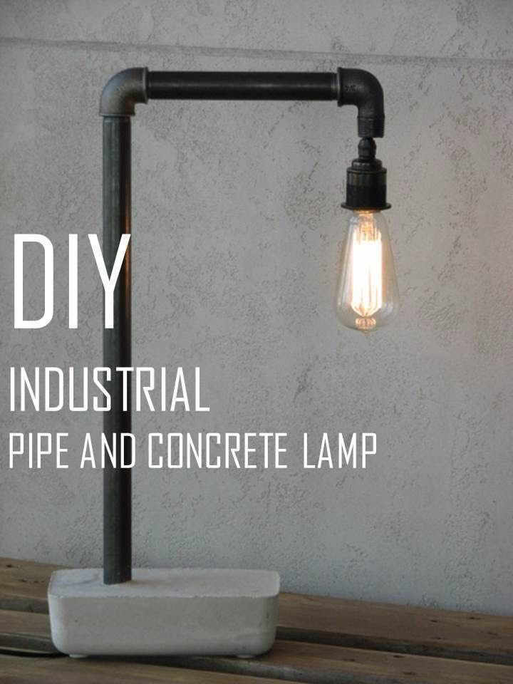 DIY Pipe & Concrete Industrial Lamp HOMEmade MAKEOVERS