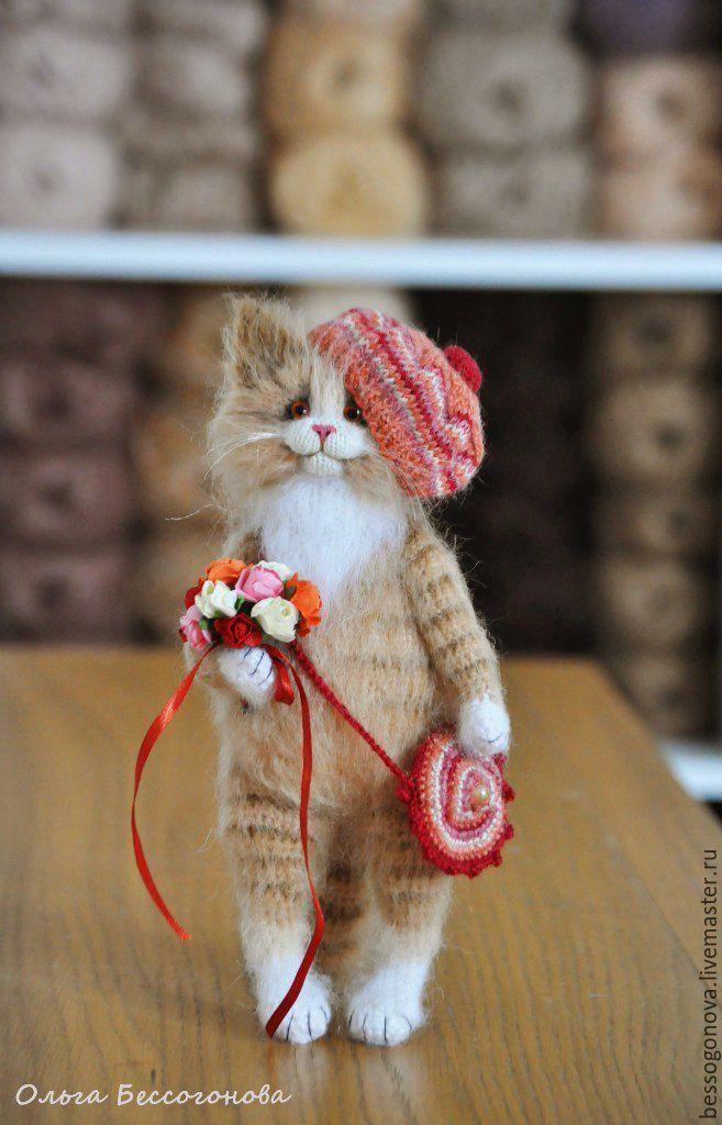Купить ВЕСЕННЯЯ кошечка вязаная - кот, котик, игрушка кот, Игрушка кошка, котенок