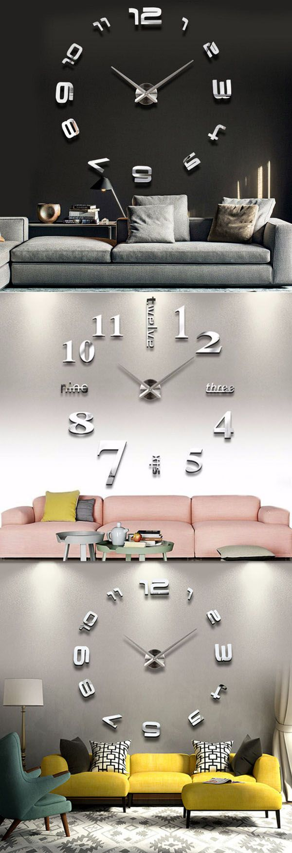 3d large sliver modern diy home decor mirror wall clock sticker mirror wallsmirror wall clockdiy wall clocksbig