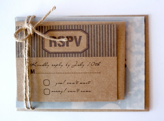 Rustic wedding invitation and RSVP set with Vellum by AnnsPaperie, $4.50