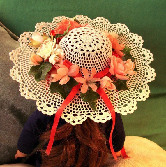 Doll Hat Victorian Lace Style White With Peach Flowers