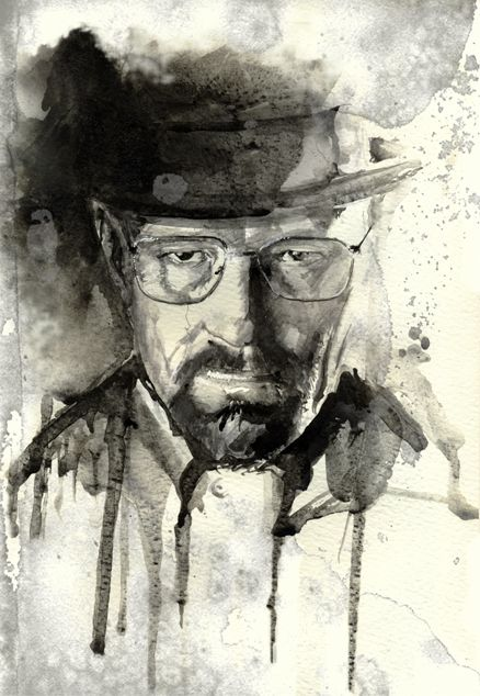 Today I did a watercolor of Heisenberg (Walter Breaking Bad) - Imgur