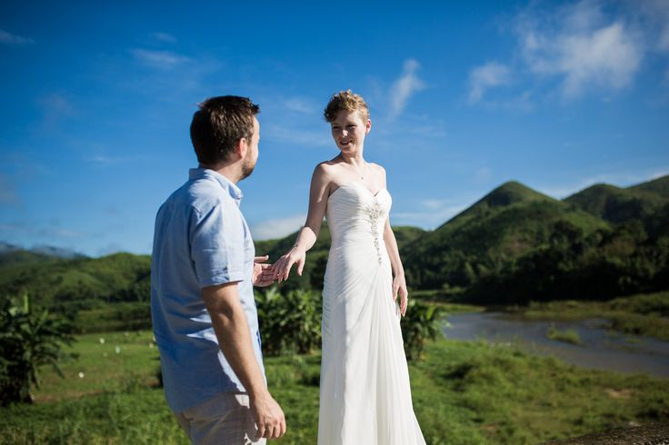 A white wedding dress amongst a rustic mountain setting #HoiAnEventsWeddings #HoiAn