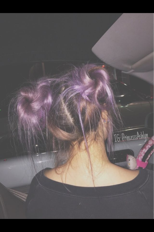 Purple pigtail buns messy