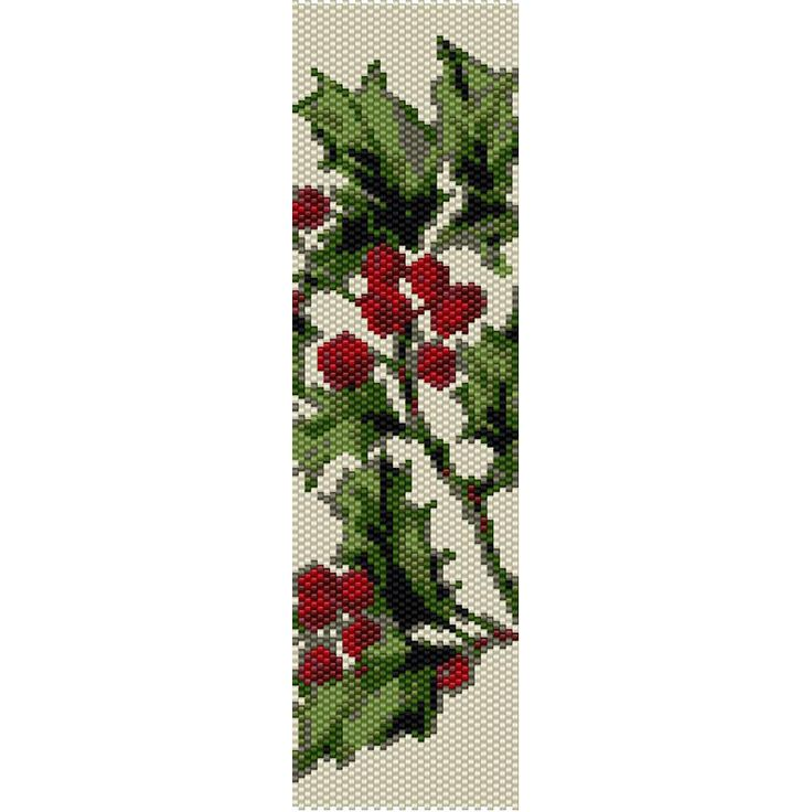 Holly Pattern Peyote Bead Pattern, Bracelet Cuff, Bookmark, Seed Beading Pattern Miyuki Delica Size 11 Beads - PDF Instant Download by SmartArtsSupply on Etsy
