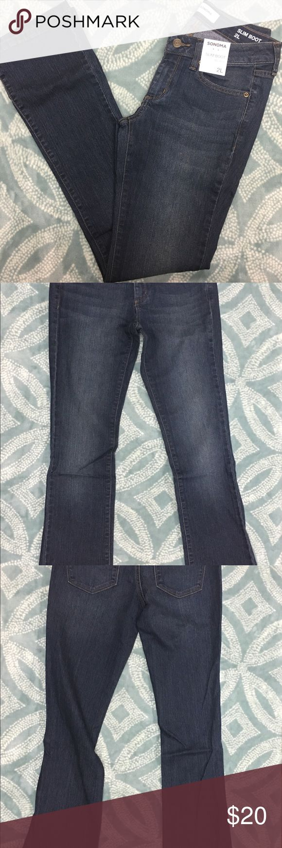 Sonoma women's slim bootcut mid rise jeans sz 2L Faded & whiskered details 5-pocket Stretchy denim construction FIT & SIZING Short: 30-in. inseam Average: 32-in. inseam Long: 34-in. inseam Midrise sits above the hip Bootcut Zipper fly FABRIC & CARE Cotton, polyester, spandex Sonoma Jeans Boot Cut