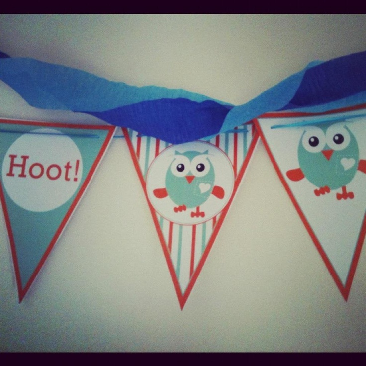 Owl bunting wall decorations from www.marabous.com giggle and hoot printables