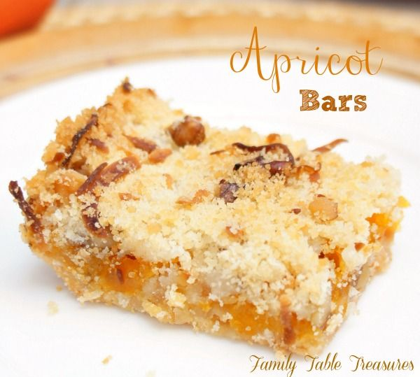 Apricot Bars - Family Table Treasures A delicious sweet and tangy apricot filling is surrounded by a coconut, walnut crust and crumble topping. Its difficult to keep a batch of these delicious Apricot Bars around.