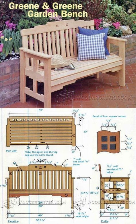 Garden Bench Plans - Outdoor Furniture Plans and Projects   WoodArchivist.com #woodworkingbench