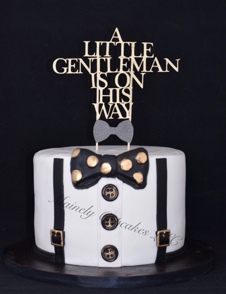 A Little Gentleman Is On His Way #babyshower #cake. We aim to please with each custom cake order! #customtopper made by #mainelycupcakes #ibake  #thecraftybaker #bananapudding #bowtie #buttons #suspenders #blackandgold #getyousome #ncbaker #indiantrail #parties #anniversaries #weddings #showers