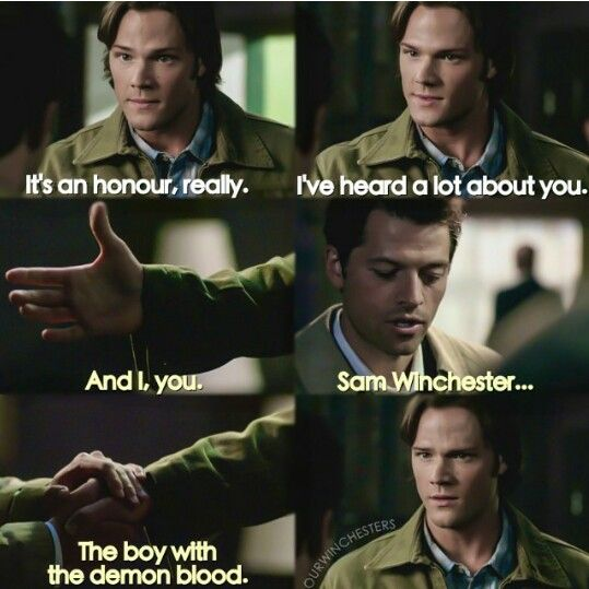 Poor Sam. Spent his life believing in a higher power and when he finally gets to meet an angel they know him as The Boy with Demon Blood. As a monster.