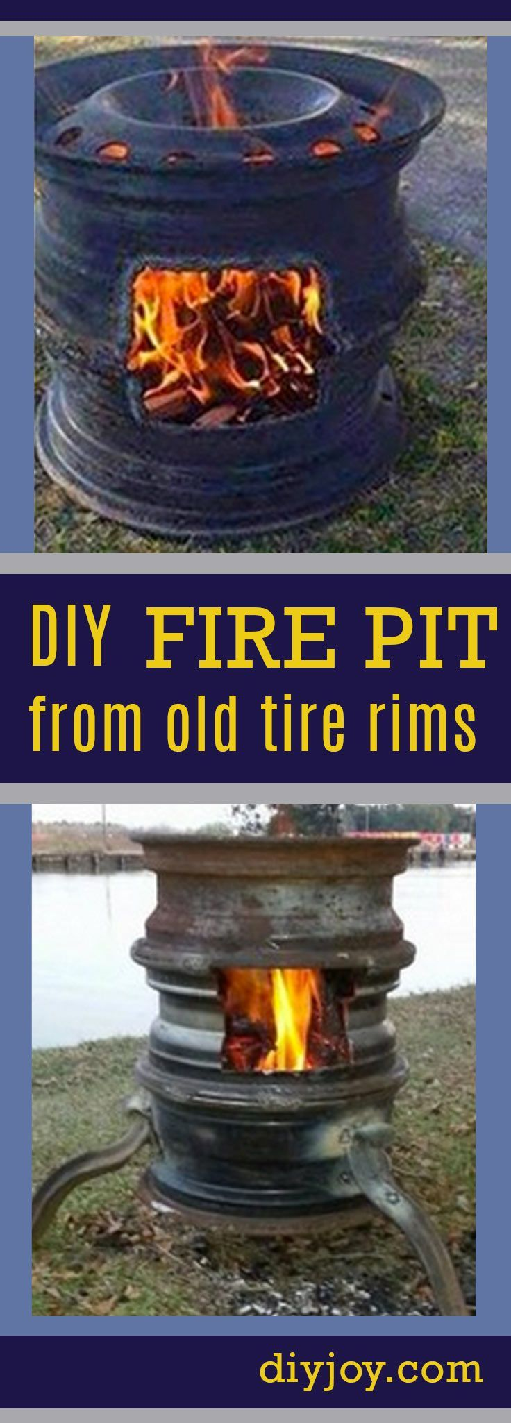 DIY Fire Pit Ideas - Fire Pit Project from Old Tire Rims   Awesome DIY Outdoors Ideas for the Backyard and Patio