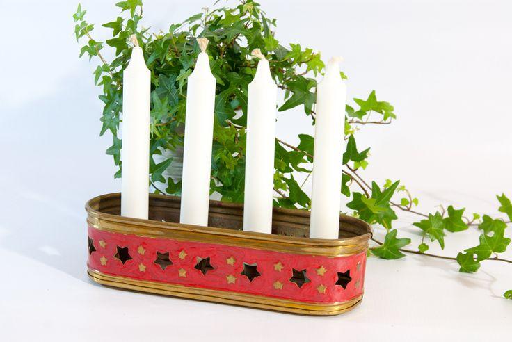 Metal candle holder / gold candle holder / Swedish candlestick / scandinavian candle holder /  advent candle holder / stars candlestick by VintageEuropeDesign on Etsy
