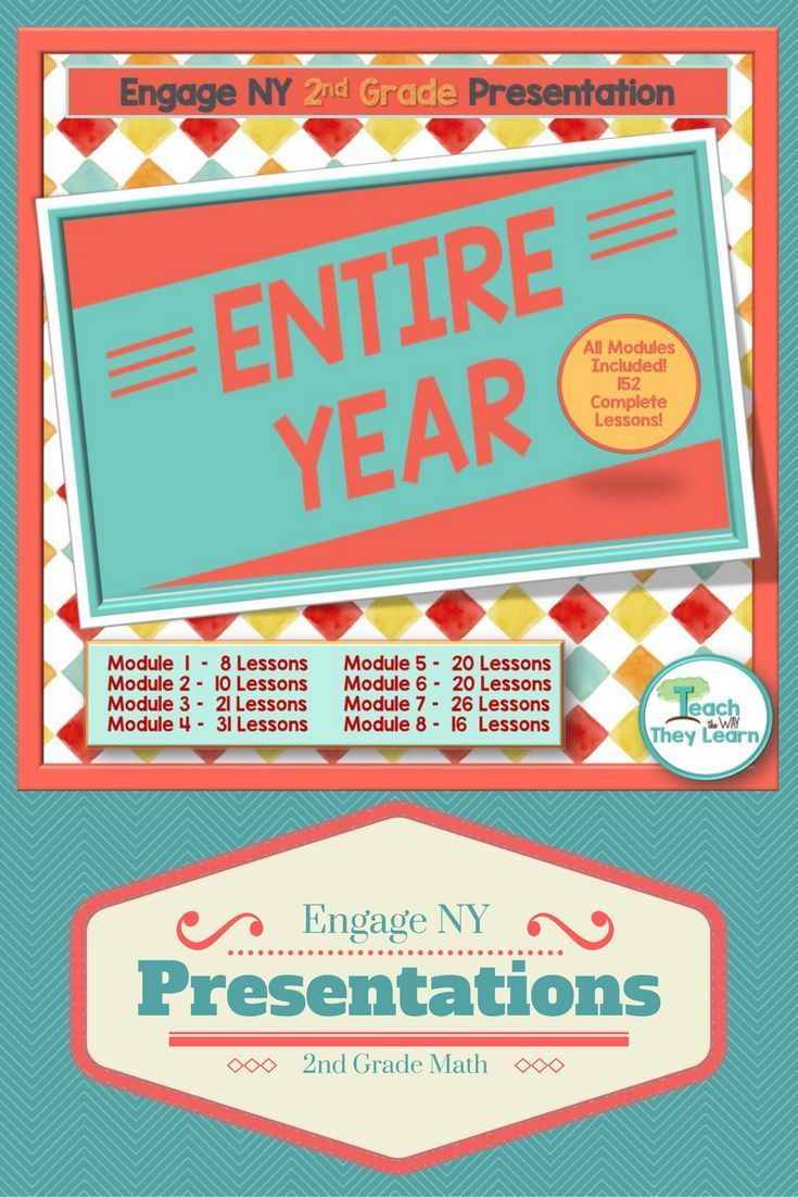 Engage NY presentations to teach the entire year�s math lessons for second grade. Covers the entire 2nd grade year of Engage NY math. Engage NY/Eureka math are Common Core Aligned and awesome math curriculum resources, but hard to teach from a manual. Put