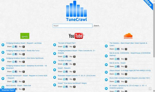 TuneCrawl: un buscador de música en YouTube, SoundCloud y Spotify