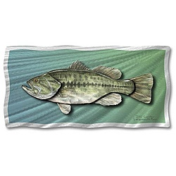 @Overstock.com - This metallic fish wall art by Jeff Currier features shimmering lines that give the illusion of flowing water and a lifelike large-mouth bass. This paneled painted artwork comes to life with its holographic effect, making it an eye-catching piece.http://www.overstock.com/Home-Garden/Jeff-Currier-Largemouth-Bass-Metal-Wall-Art/5197658/product.html?CID=214117 $147.99