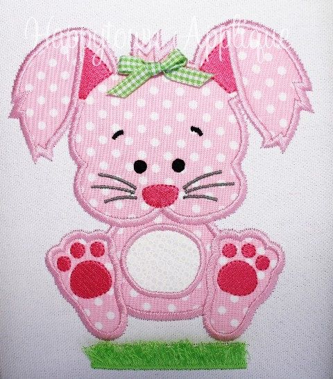 Easter Bunny with Fringe Machine Embroidery Design