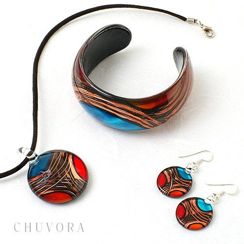 925 Sterling Silver Hand Blown Venetian Murano Glass Earrings, Red Blue Yellow Gold Curve: Dangle Earrings: Jewelry: