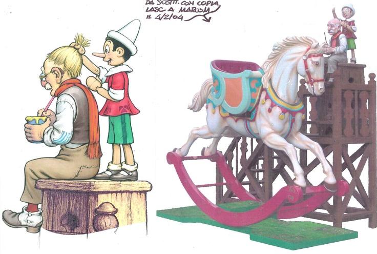 """Kiddie Ride """"La bottega di Geppeto"""".  E' stato disegnato un cavallo a dondolo versione gigante con le figure di geppetto e pinocchio.   Nell'immagine la foto del lavoro realizzato e il disegno (di Armando Tamagnini) di presentazione delle figure di Geppetto e Pinocchio."""