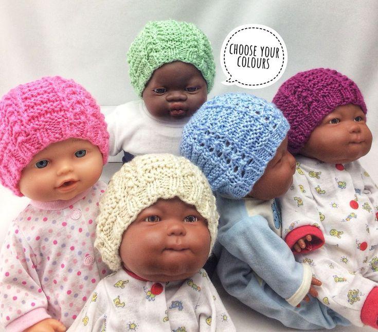 Baby Beanie/Hand Knitted/NEWBORN/BN/Girls/Boys (Plain or Stripes)
