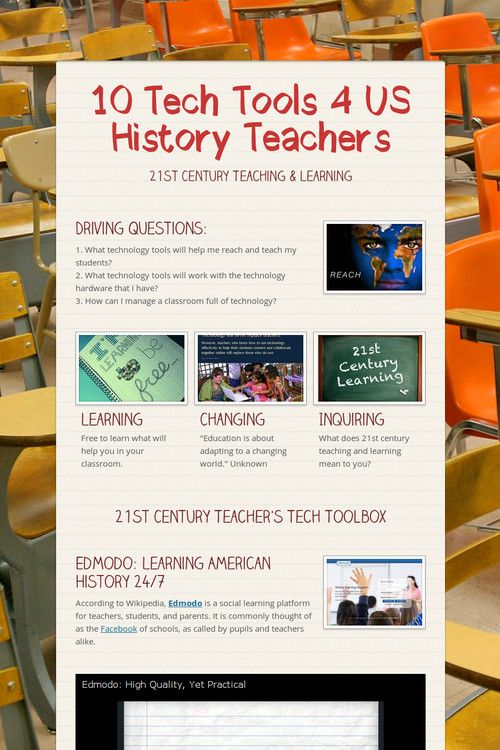 10 Tech Tools for US History Teachers. My mind is going crazy with ideas!!!