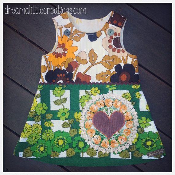 Rock'n retro upcycled aline pinny dress by dreamalittleshoppe