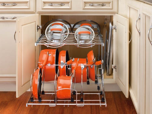 drawer pulls in cabinets for easy pot and pan storage